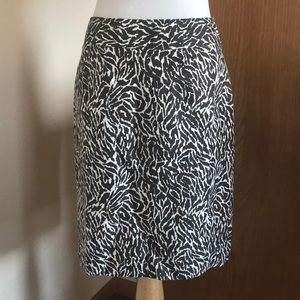 LOFT Brown and White Animal Print Pencil Skirt